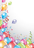 Festive Balloons card. Vector festive Balloons card and colorful confetti Royalty Free Stock Photos