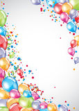 Festive Balloons card. Vector festive Balloons card and colorful confetti Royalty Free Stock Photography