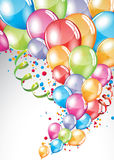 Festive Balloons card. Vector festive Balloons card and colorful confetti Royalty Free Stock Photo