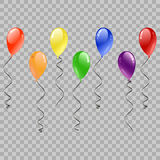 Festive Balloons Flying for Party and Celebrations on transparent Background. Colorful realistic helium balloons. Party decoration. For birthday, anniversary Stock Images