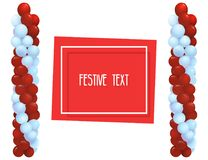 Festive balloons in the form of columns. Registration of congratulations, opening of shops, holidays. Festive balloons in the form of columns. Frame for text Stock Photos