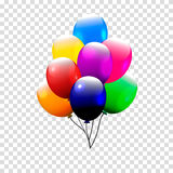 Festive Balloons real transparency. Vector illustration. 3d illustrator. Stock Image