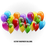Festive Balloons real transparency. Vector illustration Stock Photography
