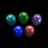 Festive balloons. Realistic, glossy, colorful. Isolated on a black background. illustration Stock Photography