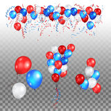 Festive balloons set. Color holiday balloons in traditional colors - red, white, blue. Holiday balloons set on transparent background Stock Images