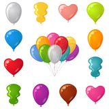 Festive balloons, set. Set of festive balloons of various beautiful colors and shapes, isolated, eps10, contains transparencies Royalty Free Stock Image