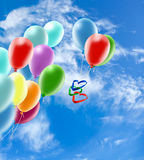 Festive balloons in the sky. Beautiful festive balloons in the sky Stock Photography