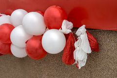 Festive balloons, some empty, the end of the holiday royalty free stock photos