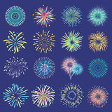 Festive Balls On Dark Blue Background. Brightly festive isolated firework bursts in ball form on dark blue background flat vector illustration Royalty Free Stock Images