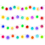Festive balls for design. Glowing Christmas lights garland. Colorful matte sphere for design on light background Royalty Free Stock Images