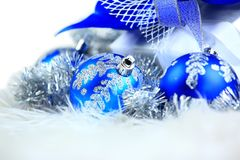 Festive balls with gift box Royalty Free Stock Photography