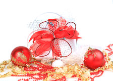 Festive balls with gift box Stock Images
