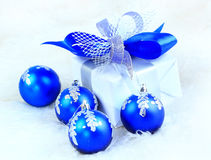 Festive balls with gift box Royalty Free Stock Image
