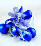 Festive balls with gift box Stock Photography