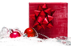Festive balls with gift box Royalty Free Stock Images