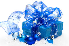 Festive balls with gift box Stock Photos