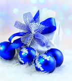 Festive balls with gift Royalty Free Stock Photo