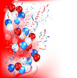 Festive balls on a red background. Color holiday balloons in traditional colors - red, white, blue. Holiday balloons set on red background Royalty Free Stock Photography