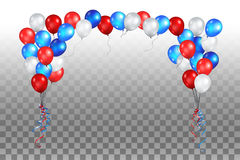 Festive balls on a transparent background. Color holiday balloons in traditional colors - red, white, blue. Holiday balloons set on transparent background Stock Photo