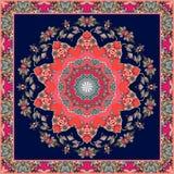 Festive bandana print with bright flower - mandala on dark blue background. Square carpet. Greeting card. Wedding invitation. Packaging design. Lovely Royalty Free Stock Images