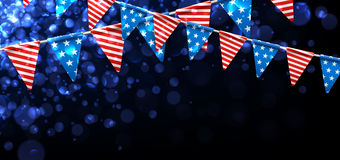 Festive banner with American flags. Blue USA Independence Day banner with American flags. Vector illustration Royalty Free Stock Image