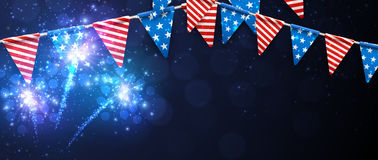 Festive banner with American flags. Stock Photography