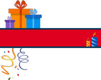 Festive banner. With candles and gift boxes. EPS 10 Stock Photos