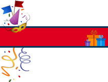 Festive banner. With carnival accessories and gift boxes. EPS 10 Royalty Free Stock Photos