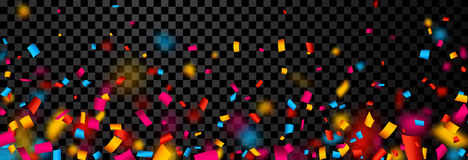Festive banner with colorful confetti. Festive checkered banner with colorful confetti. Vector paper illustration Stock Image