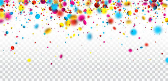 Festive banner with colorful confetti. White checkered festive banner with colorful confetti. Vector illustration Royalty Free Stock Photos