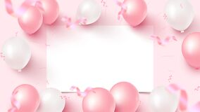 Festive banner design with white sheet, pink and white air balloons, falling foil confetti on rosy background