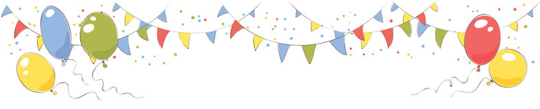 Festive banner with flags and balloons Stock Photo