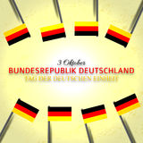 Festive banner with flags of The Germany, national celebration card and an inscription in German October 3. Germany celebration poster and greeting message Stock Photography