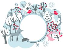 Festive banner with wild animals. Festive banner with winter forest landscape and wild animals Royalty Free Stock Photography