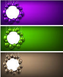 Festive banners with Christmas balls. New Year colorful banners with Christmas balls. Vector illustration Stock Photography