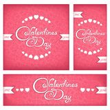 Festive banners and flyers for Valentine's day. Set banners and flyers for Valentines Day with calligraphy title Royalty Free Stock Photo