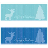 Festive banners. With Reindeer and Christmas tree. Christmas and New Year theme Stock Image