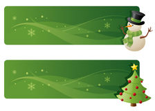 Festive Banners. Separately grouped green festive banners Stock Photography