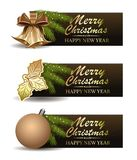 Festive banners set for Christmas and New Year. Christmas design collection. Vector illustration Stock Photos