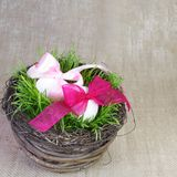 Festive Basket with Easter Eggs Stock Images