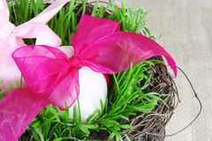 Festive Basket with Easter Eggs Stock Photos