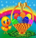 Festive basket with painted egg and chicken Royalty Free Stock Images