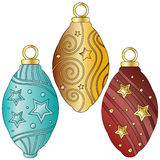 Festive bauble collection. Over white background Royalty Free Stock Images