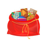 Festive beautiful, big New Year`s bag, with gifts, games, sweets. Christmas holiday boxes, packages, bags for gifts, games and sweets concept. Festive beautiful Stock Photography