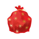 Festive beautiful, big New Year`s bag, with gifts and surprise. Christmas holiday boxes, packages, bags for gifts, games and sweets concept. Festive beautiful Royalty Free Stock Images