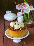 Festive beautiful caramel biscuit cake Royalty Free Stock Image