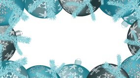 Christmas frame for the New Year round balls, Christmas tree decorations and fir branches isolated on white. Vector background stock illustration