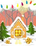 Festive and beautiful house in the fairy forest with snow and Christmas trees. Vector stock illustration