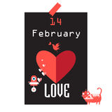 Festive beautiful poster for Valentines Day. With different characters Stock Image