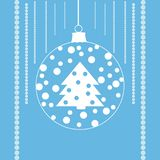 Tree with snow in a xmas ball. Festive and beautiful shapes in white over blue background. Clean design for Christmas prints Royalty Free Stock Photos
